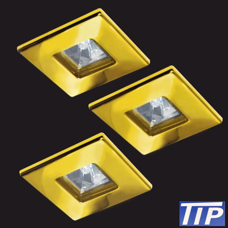 3-Set Einbauleuchten Paulmann TIP 995.42 Quadro gold