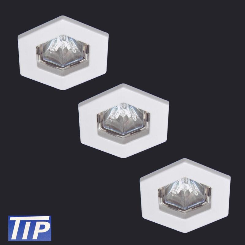 3-Set Einbauleuchten Paulmann TIP 995.90 3x20W Hexa weiß
