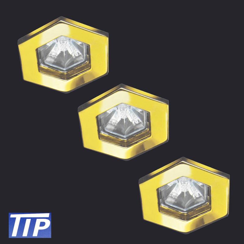 3-Set Einbauleuchten Paulmann TIP 995.92 3x20W Hexa gold